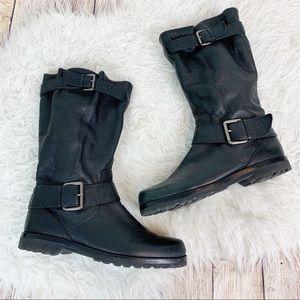 GENTLE SOULS Leather Moto Zipper Strap Boots 9.5
